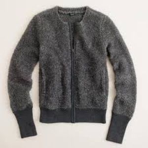 J. Crew Teddy Bear Boucle Knit Bomber Jacket